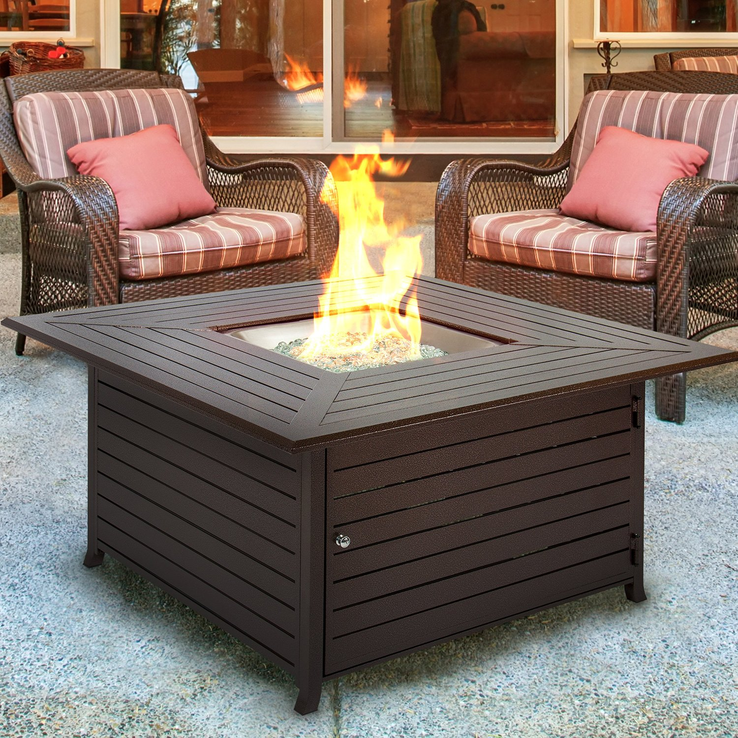 BCP Extruded Aluminum Gas Outdoor Fire Pit Table - Best Fire Pit Reviews In 2017 Complete Buying Solution Of 15K Words