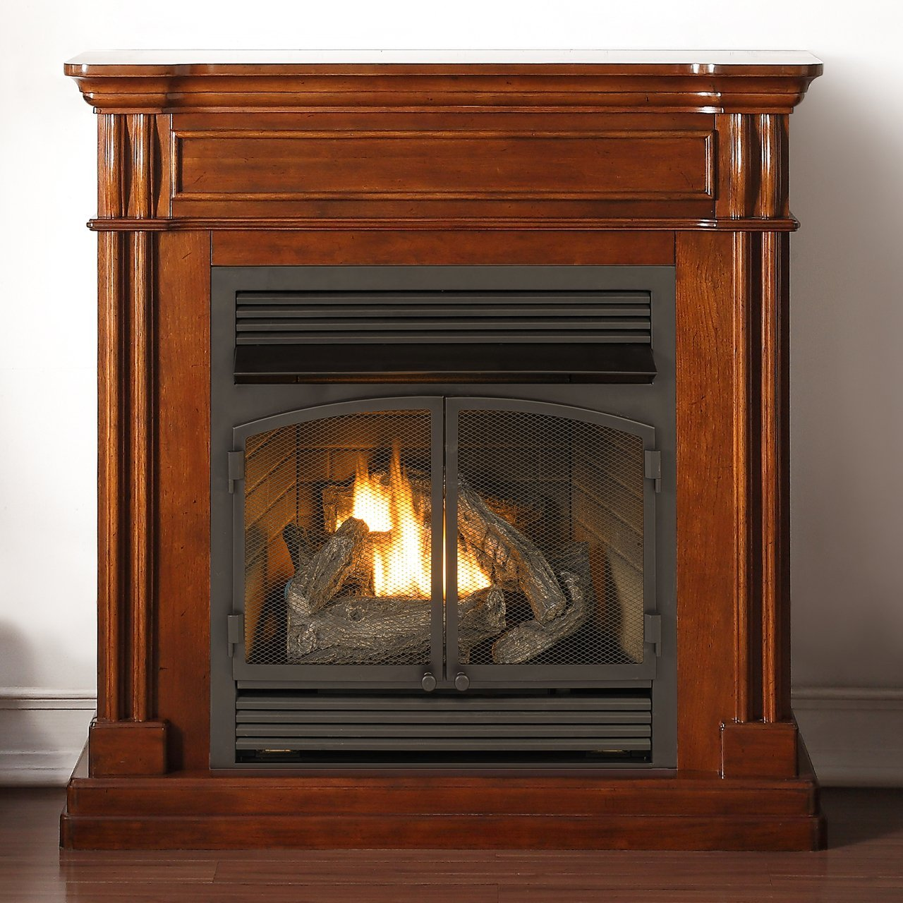 Dual Fuel Vent Free Fireplace With Autumn Spice Finish
