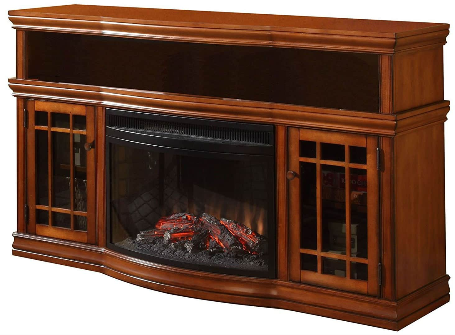 57 inch dwyer tv stand with electric fireplace burnished pecan finished. Black Bedroom Furniture Sets. Home Design Ideas