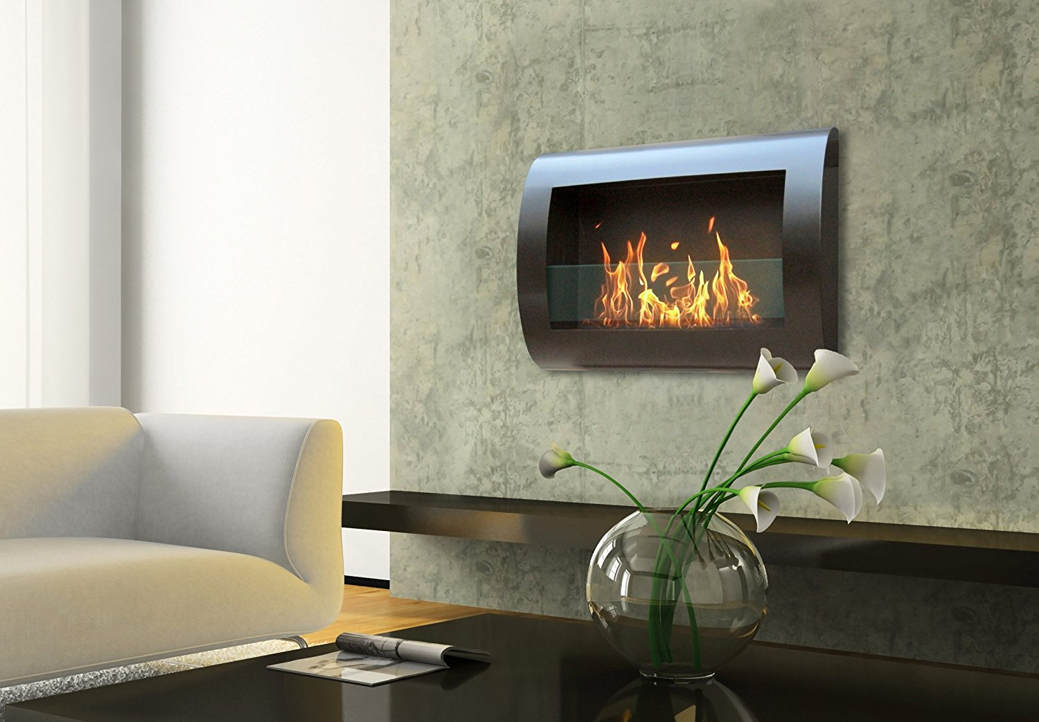 Anywhere Fireplace Chelsea Model In Black Wall Mount Bioethanol