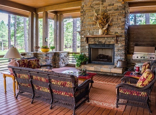 porch fireplace in the living room
